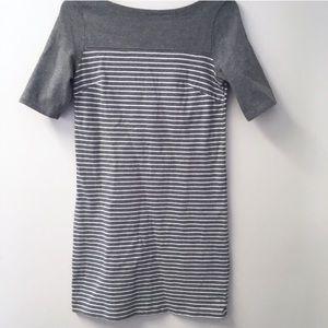 GAP gray and white boatneck midi dress